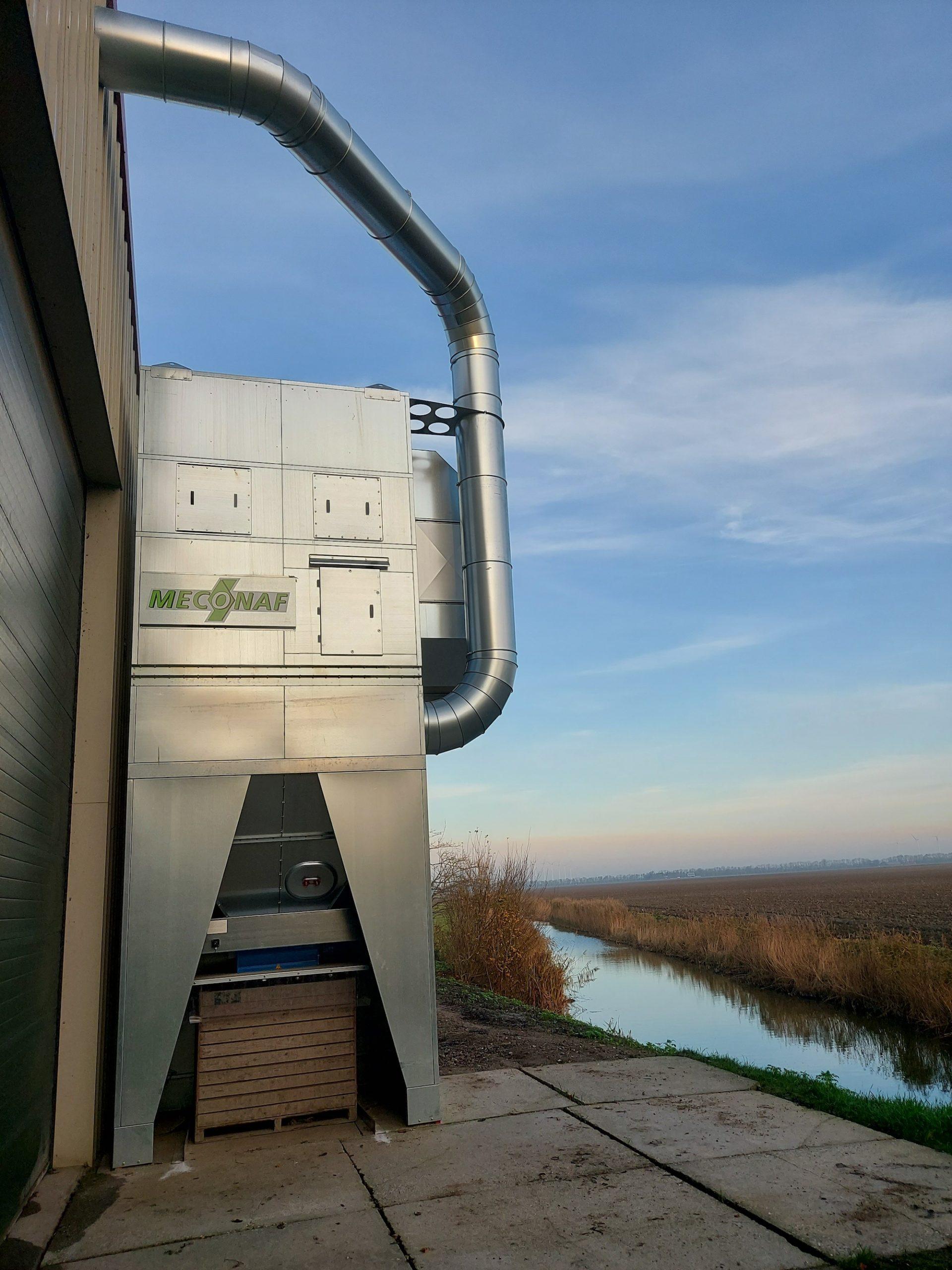 filterinstallatie met windshiftingsysteem bij Bouthoorn
